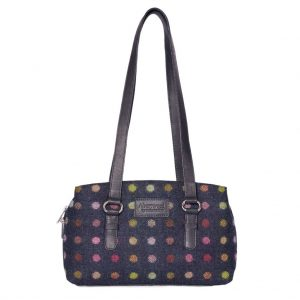 Mala Abertweed Triple Zip Shoulder Bag 727 40 Navy Spot