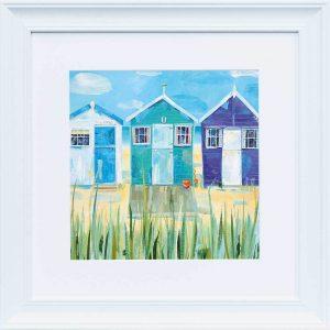 Beach Huts white frame wall art