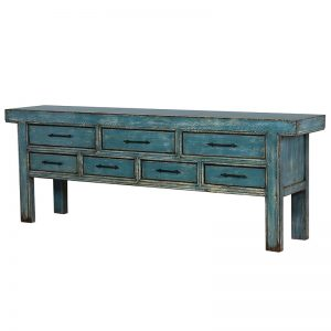 Distressed 7 Drawer Console Table