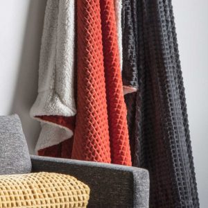 Cubic Embossed Sherpa Throw Orange
