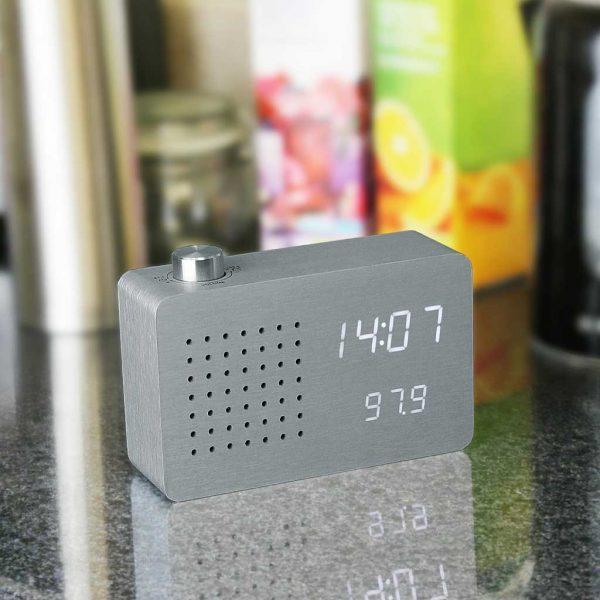GK16-AL - Radio Click Clock - Aluminium