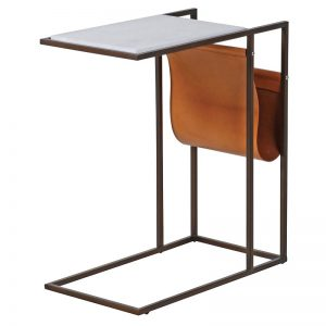 Marble Top and Leather Magazine Side Table