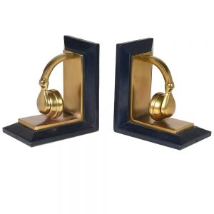 Blue Brass Leather Bookends