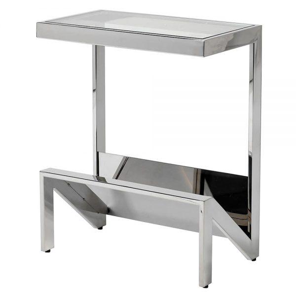 Stainless Glass Top Side Table