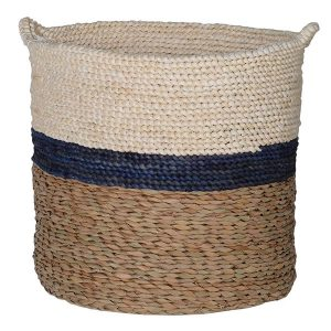 Navy Striped Maize & Straw Basket