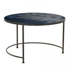 Prussian Blue Leaf Glass Top Coffee Table