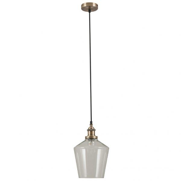 Antique Brass Metal and Clear Glass Pendant