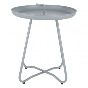 Matt Grey Metal Side Table with Handle