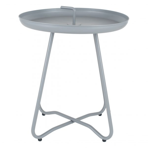 Matt Grey Metal Side Table with Handle