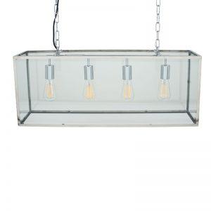 Silver Metal & Gloss Four Bulb Pendant