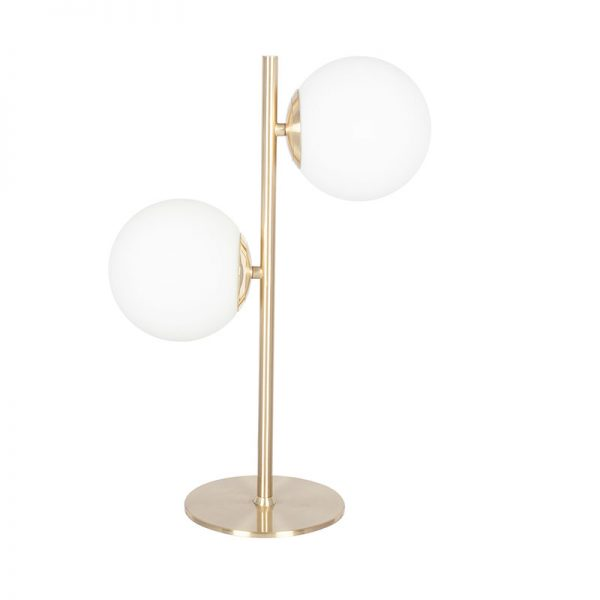 White Orb & Gold Metal Table Lamp