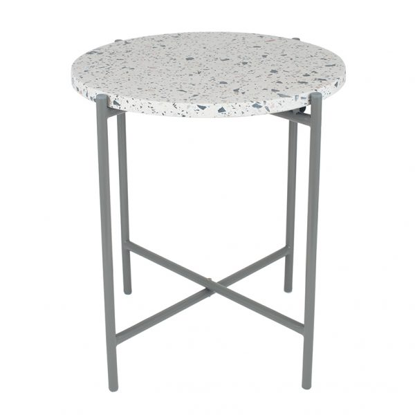 White Terrazzo & Matt Grey Metal Table Large