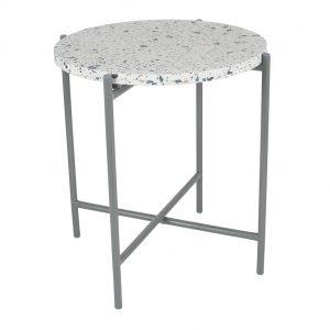 White Terrazzo & Matt Grey Metal Table Large