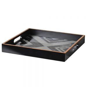 Black & White Square Marbled Tray