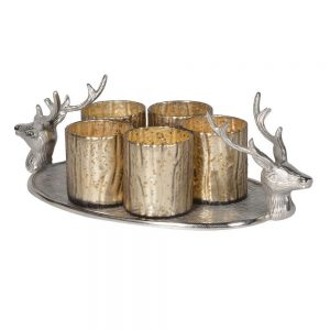 Deer Tray with 5 Silver Votives