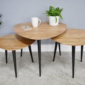 Set of 3 Tables w/Oak Top