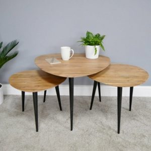 Set of 3 Tables w/Oak Top
