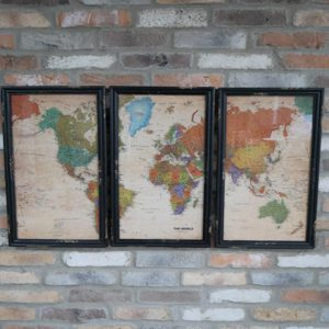 Set of Three Map Pictures