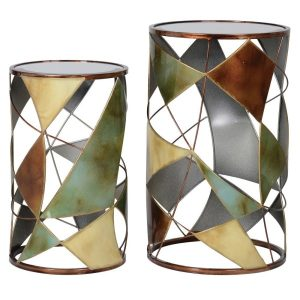 Abstract Multicolour Side Table Set with Glass Surface