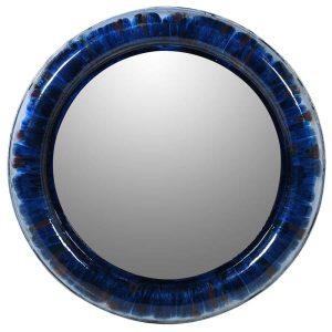 Navy Round Mirror