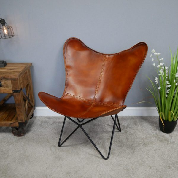 696123 Butterfly Brown Leather Chair