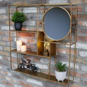 696124 Gold Wall Unit With Shelves and Mirror