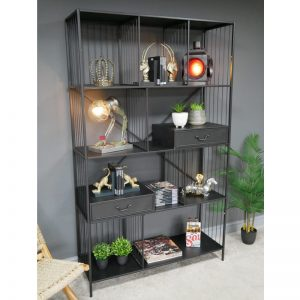 696125 Metal Display Cabinet With Shelves & 2 Drawers