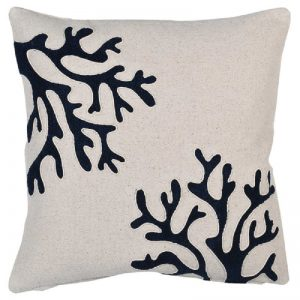 Cushion Cover with Blue Coral Design
