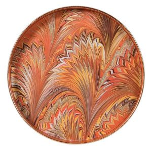 Orange Tray with Multicolour Abstract Design
