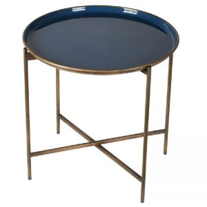 Gold Tray Table with Blue Tray Table Top