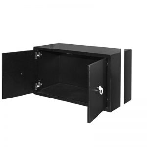 Gold Console Table with Black Storage Cabinet