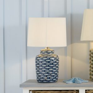 Schoal Blue and White Fish Detail Ceramic Table Lamp