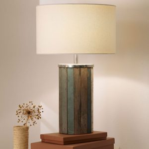 Kerala Distressed Wood Tall Table Lamp