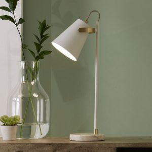 Theia White and Brushed Brass Task Table Lamp