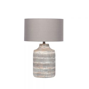 Galle Grey Wash Wood Textured Table Lamp