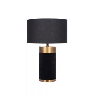 Dempsey Black Velvet and Antique Gold Table Lamp
