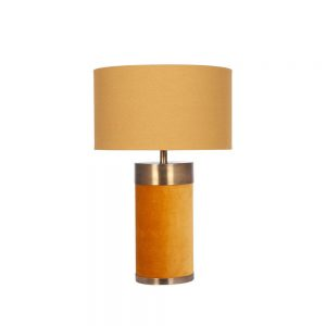 Dempsey Mustard Velvet and Antique Gold Metal Table Lamp
