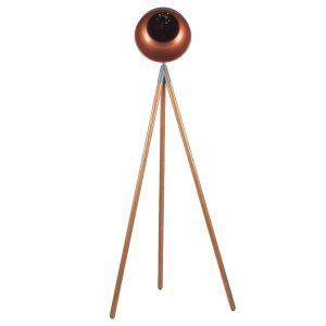 Larkin Grey Metal & Natural Wood Tripod Floor Lamp