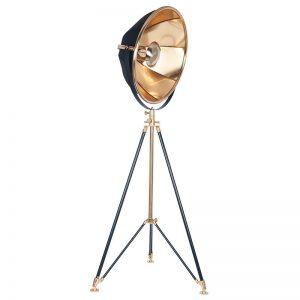 Elstree Black and Gold Metal Tripod Floor Lamp