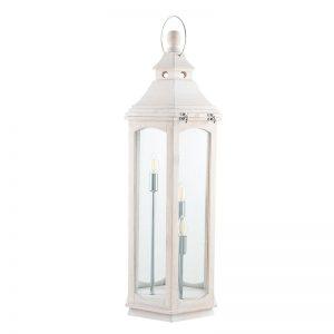 Adaline White Wash Wood Lantern Floor Lamp
