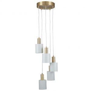 Biba White and Gold Five Drop Pendant Light