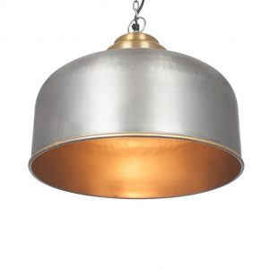 Portici Antique Pewter and Gold Metal Detail Pendant Light
