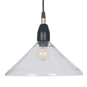 Canton Matt Black and Clear Glass Cone Pendant Light