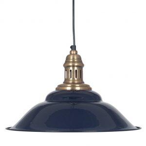 Macchiato Navy & Antique Brass Metal Cafe Pendant Light