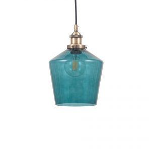 Emmanuelle Teal Glass and Antique Brass Pendant Light