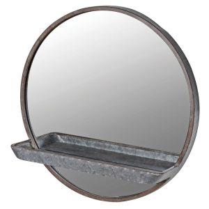 Round Wall Mirror With Shelf