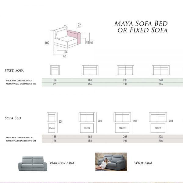 Maya-Sofa-Bed-Specifications